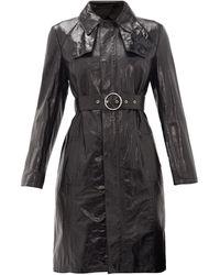 Maison Margiela Trench-coat ceinturé en cuir - Noir