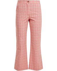 Stella Jean Pantalon évasé en coton mélangé à carreaux - Multicolore