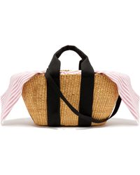 Muuñ - George Capri Canvas And Woven Straw Bag - Lyst