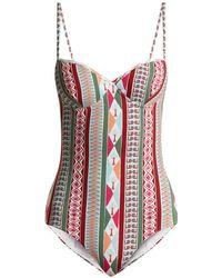 Le Sirenuse - Amanda Arlechino-print Sweetheart-neck Swimsuit - Lyst