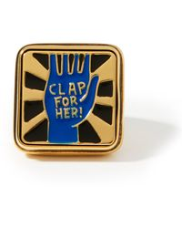 Chloé Clap For Her! Lacquered Signet Ring - Blue