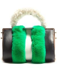 Marni Duffle Tag Fur-trimmed Leather Bag - Green
