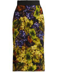 Dolce & Gabbana - Grape-print Cady Midi Skirt - Lyst