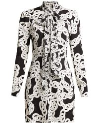 Diane von Furstenberg Franca Crawling Chain Print Crepe Dress - Black