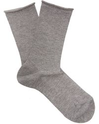 Falke Lurex Logo-intarsia Knit Socks - Gray