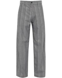 Hope Wind Checked High-rise Pants - Gray