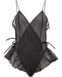 Raey Body en organza de soie transparent X Lucy Jones - Noir