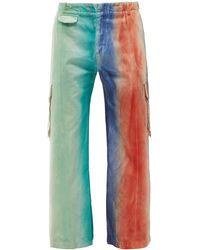 Charles Jeffrey LOVERBOY Striped Denim Cargo Trousers - Blue
