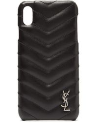 Saint Laurent Lou Quilted Leather Iphone® Xs Max Phone Case - Black