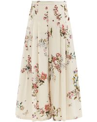 Giambattista Valli Floral-print Cropped Silk Wide-leg Trousers - Natural