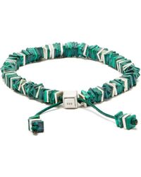 M. Cohen Square Disc Malachite Beaded Bracelet - Metallic