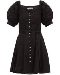Innika Choo Floral-embroidered Ramie Mini Dress - Black