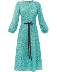 Cefinn セルマ ジオメトリックツイルドレス - ブルー
