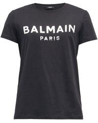 Balmain メタリックロゴ コットンtシャツ - ブラック
