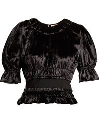 Brock Collection - Tammy Ruched Velvet Peplum Top - Lyst