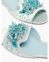 Dolce & Gabbana ビアンカ クリスタル サテンサンダル - ブルー