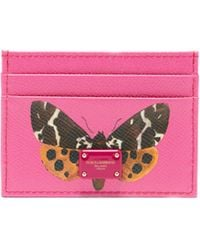 f991f1071815 Dolce   Gabbana - Butterfly-print Leather Cardholder - Lyst