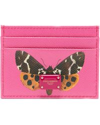 Dolce & Gabbana - Butterfly-print Leather Cardholder - Lyst
