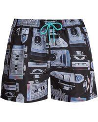 Paul Smith Camera-print Quick-drying Swim Shorts - Black