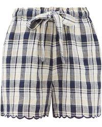 Innika Choo Wilma Scalloped-cuff Checked Linen Shorts - Multicolour