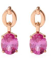 Nadine Aysoy Catena Topaz & 18kt Gold Drop Earrings - Pink