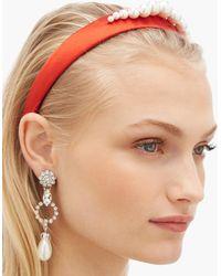 Benoit Missolin Stella Imitation Pearl Embellished Silk Headband - Multicolor