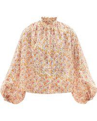 Thierry Colson Slava Gathered Floral-print Cotton-voile Blouse - Multicolor