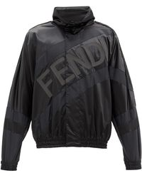 Fendi ロゴプリント サテンジャケット - ブラック