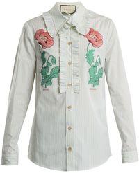 Gucci - Floral Fil Coupé Striped Cotton Shirt - Lyst