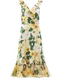 Dolce & Gabbana - カメリアプリント ラッフル シルクドレス - Lyst