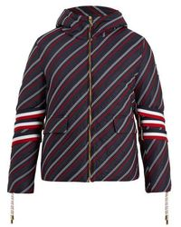 Moncler - Strap-detail Embroidered Down Coat - Lyst