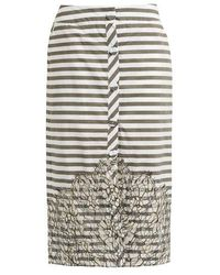 Johanna Ortiz - Tanzania Striped Lace-panel Cotton-blend Skirt - Lyst