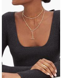 Zoe Chicco T-bar Toggle Diamond & 14kt Gold Necklace - Metallic
