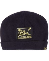 Raf Simons Heroes-embroidered Wool-blend Beanie Hat - Blue