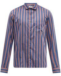YMC ストライプ コットンポプリンシャツ - ブルー