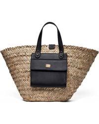 Dolce & Gabbana ケンドラ ラフィア&レザーバスケットバッグ - マルチカラー