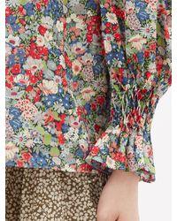 Horror Vacui Haut en coton à imprimé floral et smocks Collia - Multicolore