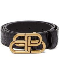 Balenciaga Bb-logo Crocodile-effect Leather Belt - Black