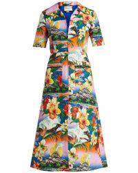 Gucci - Hawaiian Print Collared Linen Midi Dress - Lyst