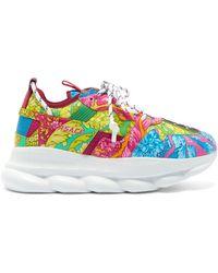 Versace Floral Print Chain Reaction Sneakers - Multicolor