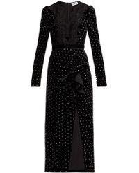 Self-Portrait Robe courte en velours à ornements cristaux - Noir