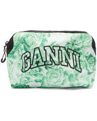 Ganni Logo-embroidered Floral-print Makeup Bag - Green