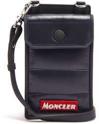 Moncler Appliqué Logo Padded Phone Case Neck Bag - Blue