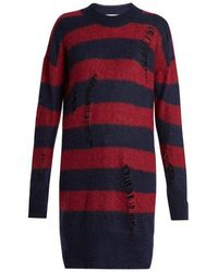 Stella McCartney - Distressed Striped Mohair And Wool-blend Sweater - Lyst