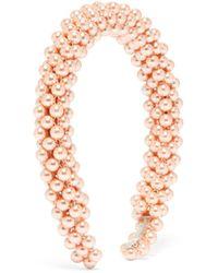 Shrimps Serre-tête à ornements façon perle Antonia - Rose