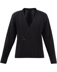 Homme Plissé Issey Miyake Double-breasted Technical-pleated Blazer - Black