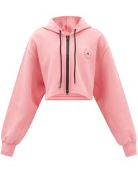 adidas By Stella McCartney クロップド コットンブレンドスウェットパーカー - ピンク