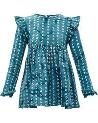 Muzungu Sisters Nora Ruffled Shibori-dyed Linen Blouse - Blue