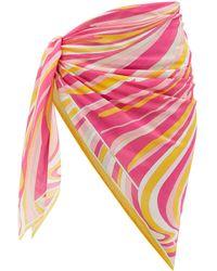 Emilio Pucci Vortici-print Cotton-voile Sarong - Pink