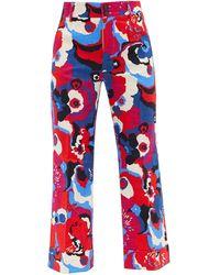 LaDoubleJ Hendrix Big Flower-print Cotton-blend Trousers - Red